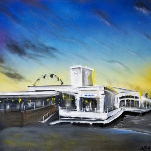 an acrylic painting depicting the old Burts cafe at Manly Wharf with a new look wharf facade