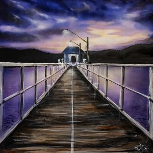 a haughtingly beautiful artwork of Palm Beach Wharf by night -painted in beautiful purple hues