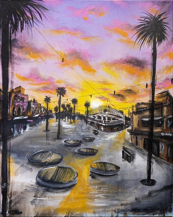 a colourful painting of manly corso at sunset